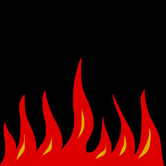 Fire naive comic on a black background. The flames of the fire horizontal.