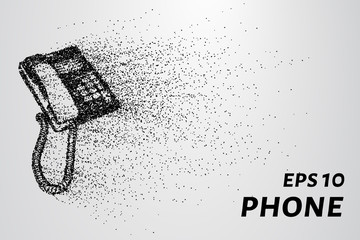 Phone from the particles. The phone crumbles into small circles and dots. Vector illustration