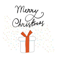 Vector Christmas gift in sketch style on white background