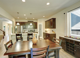 Dining and kitchen room interior in brand-new house