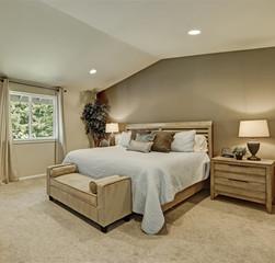 Elegant beige and brown bedroom interior with pale blue bedding