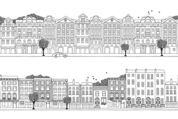 Two hand drawn seamless city banners - Prague and Dublin style houses