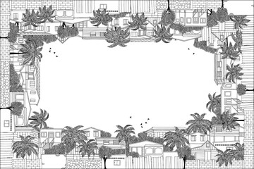Greeting card frame with hand drawn Caribbean stilt houses and palm trees