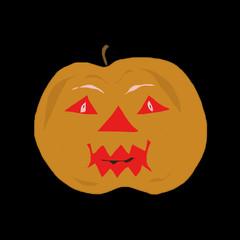 Pumpkin comical on black background. Festive symbol of Halloween. Cheerful smiling head of a pumpkin.