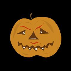 Pumpkin comical on a black background. Festive symbol of Halloween. Cheerful smiling head of a pumpkin.