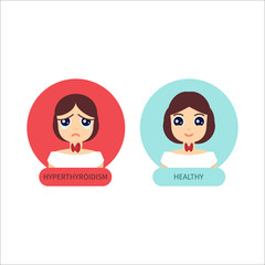 Woman with hyperthyroid gland and healthy woman. Hyperthyroism symbol. Thyroid diagram sign. Medical concept. Anatomy of people. Vector illustration made in cartoon style.