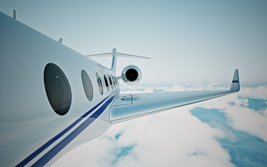 Closeup of realistic photo white, luxury generic design private jet flying over the earth's surface.Modern airplane and empty blue sky on background. Business travel concept. Horizontal. 3d rendering.
