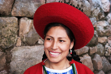 Young Quechua woman in traditional dress