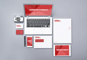 Laptop, Smartphone, and Tablet with Stationery Mockup 2