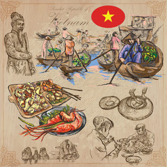 Vietnam. Pictures of Life. Colored vector pack. Hand drawings.