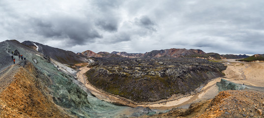 Panoamic view on lava field in Landmannalaugar national park in Iceland