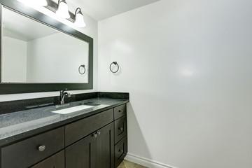 Bathroom vanity in black color in empty apartment