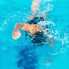 Swimmer. Female swimmer in lap lanes
