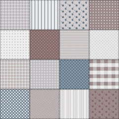Endless patchwork background with different patterns.