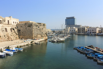 View of the Angevin-Aragonese Castle and harbor in Gallipoli, Sa