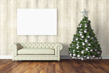 Beautiful Christmas interior . 3D rendering