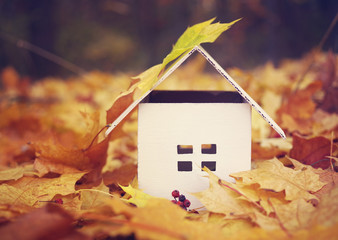 House from paper in bright yellow autumn leaves. Model of cardboard house. Concept image house. Concept of sale or purchase house