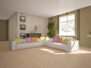 Modern interior with corner sofa