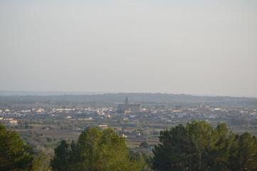 Vista del pueblo de Porreres situado en el centro-sur de la isla de Mallorca.