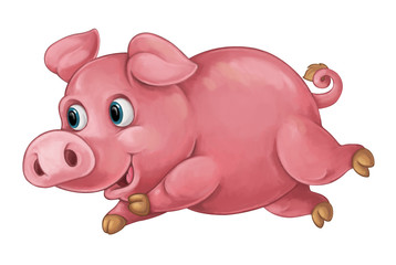 Cartoon happy pig is running and looking - artistic style - isolated - illustration for children