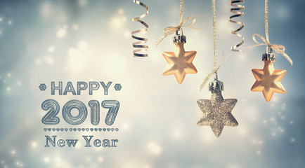 Happy New Year 2017 message with hanging stars