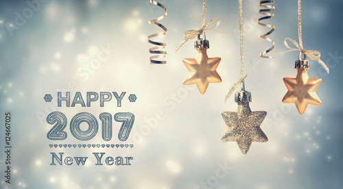 happy new year 2017 message with hanging stars stock photo and