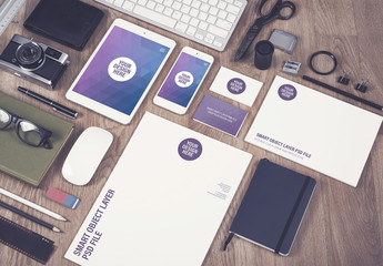 Smartphone, Tablet, and Stationery on Wooden Desk Mockup 2