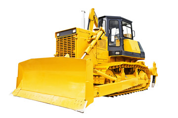 Bulldozer isolated on white.