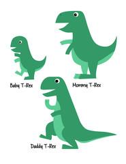 Cute Tyrannosaurus Family Dinosaur Vector Illustration, Baby T-rex, Mommy T-rex, Daddy T-rex