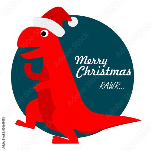 Cute Tyrannosaurus Rex Santa, Christmas Holiday Dinosaur Vector Illustration