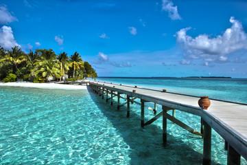 Beautiful amazing nature background. Tropical blue sun sea Wall mural