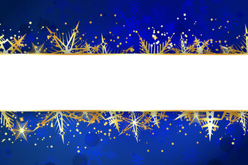 Blank Banner on Blue Christmas Background