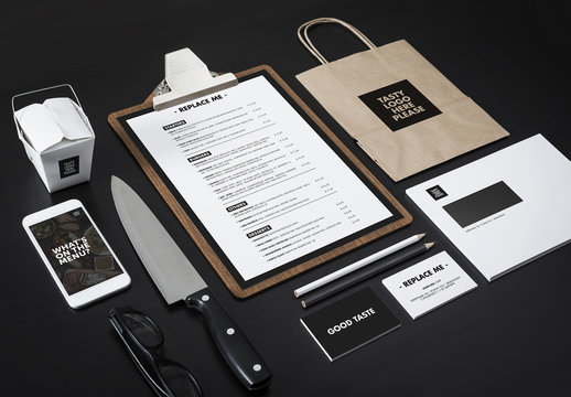 Menu, Smartphone, Take Out Carton, Bag, and Stationery Mockup