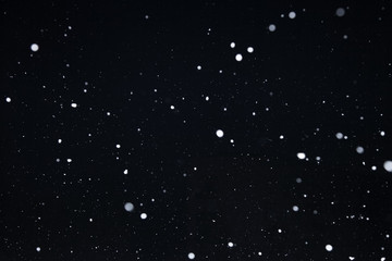 Snowflakes on dark sky