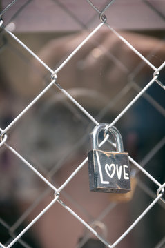 Padlock with the word love