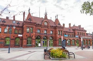 Railway station building in Malbork, Poland