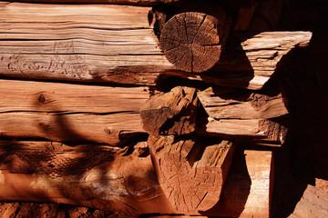 Detail of pioneer log cabin
