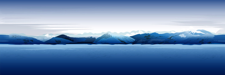 Sea And Mountains, Blue  Background