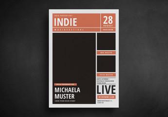 Indie Rock-Flyer im Zeitungsstil