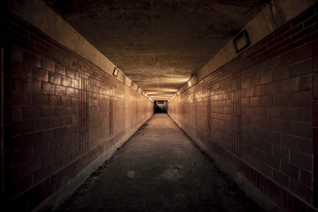 Acrylic Prints Tunnel Empty underpass tunnel at night