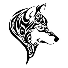 wolf head tribal tattoo sketch drawing isolated vector