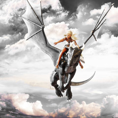Dragon rider, Blonde female riding the back of a black flying dragon. Fantasy 3d rendering