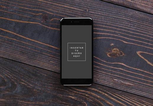 Maquetas sobre madera compatibles con iPhone