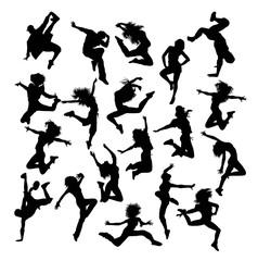Hip Hop Dancing Silhouette, art vector design