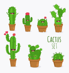 Funny cactus set. Vector illustrations can be used as a sticker.