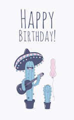 Greeting card Happy Birthday. Funny cactuses with a balloons wishes you a happy birthday. Comic characters. Vector illustration.