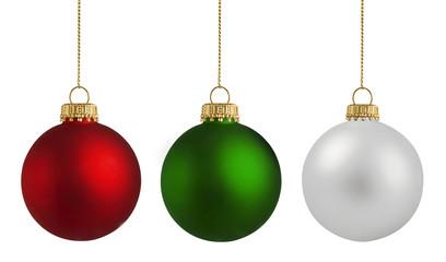 Deurstickers Bol Christmas balls over white background