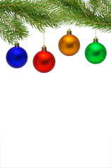 Christmas decoration with gold, red, blue, green balls and Christmas tree isolated on white background. Copyspace.