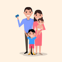 Vector happy family with a plastic credit card