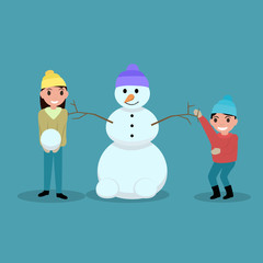 Vector cartoon happy children make snowmen